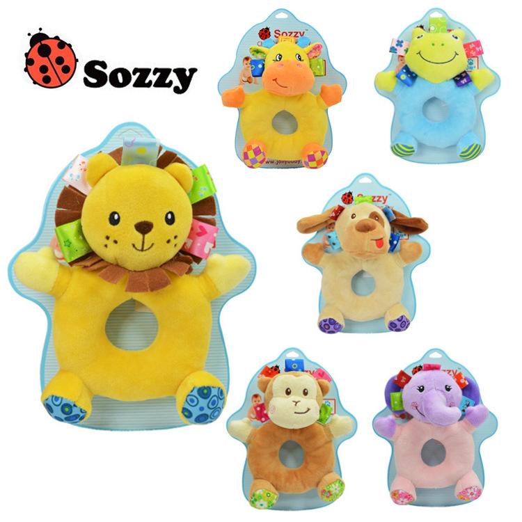 2017 Baby Toys Sozzy Baby Crinkle Sound Soft Gentle Rattle Plush Toy Lion Cute Elephant Frog Monkey 0-12 months