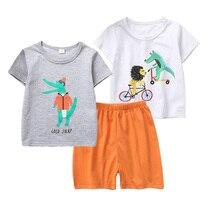 Summer New Pajamas Set Boy Cartoon Print Three-piece Sleepwear Clothes 2-7 Years