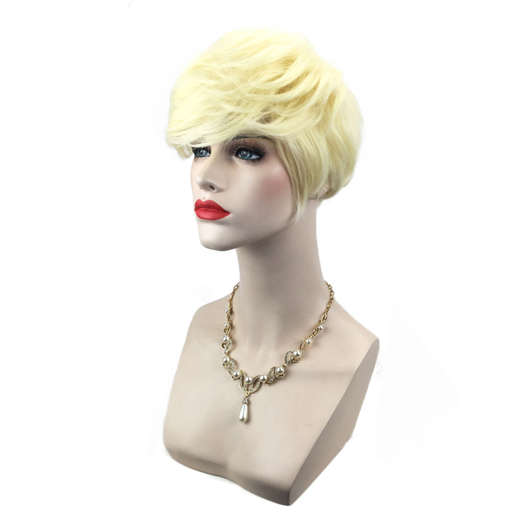 Women Similar to short human hair wigs Short Gold Yellow Front Curly Hairstyle Synthetic Hair wigs for women 52323A