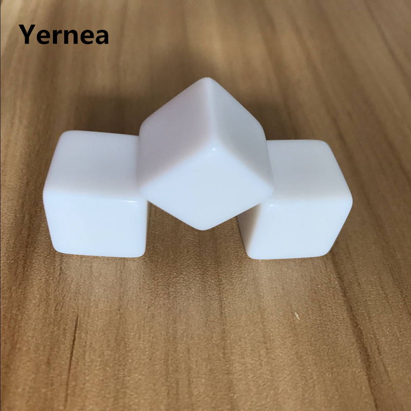 10Pcs/Lot 16mm Square Corner Acrylic Whiteboard Dice Can Write White Light Surface Freely Creative DIY Set Yernea