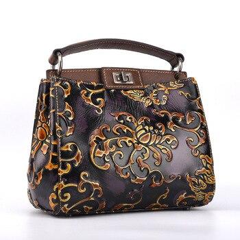 Original Designer Vintage Superior cowhide leather Embossing famous brand women fashion genuine leather floral handbags Tote bag
