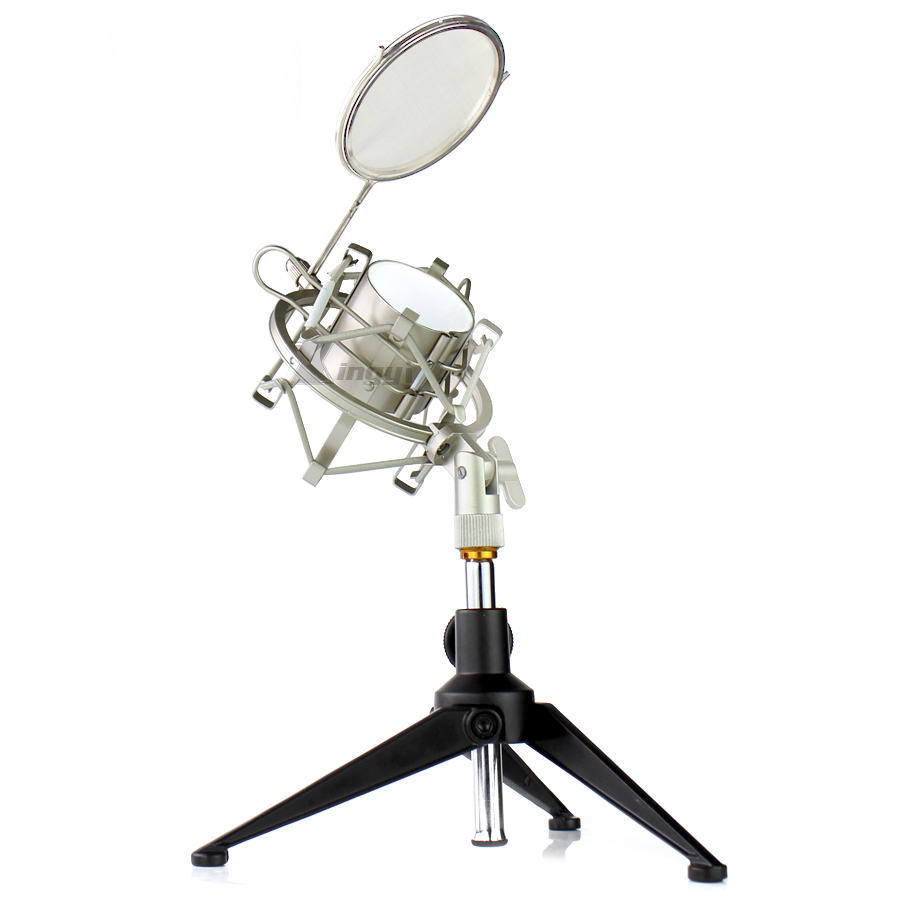 Tripod Desktop Stand Shock Mount Spider Microphone Shield Desk Mic Holder Wind Screen Pop Filter For Studio BM800 BM700 BM 700 image