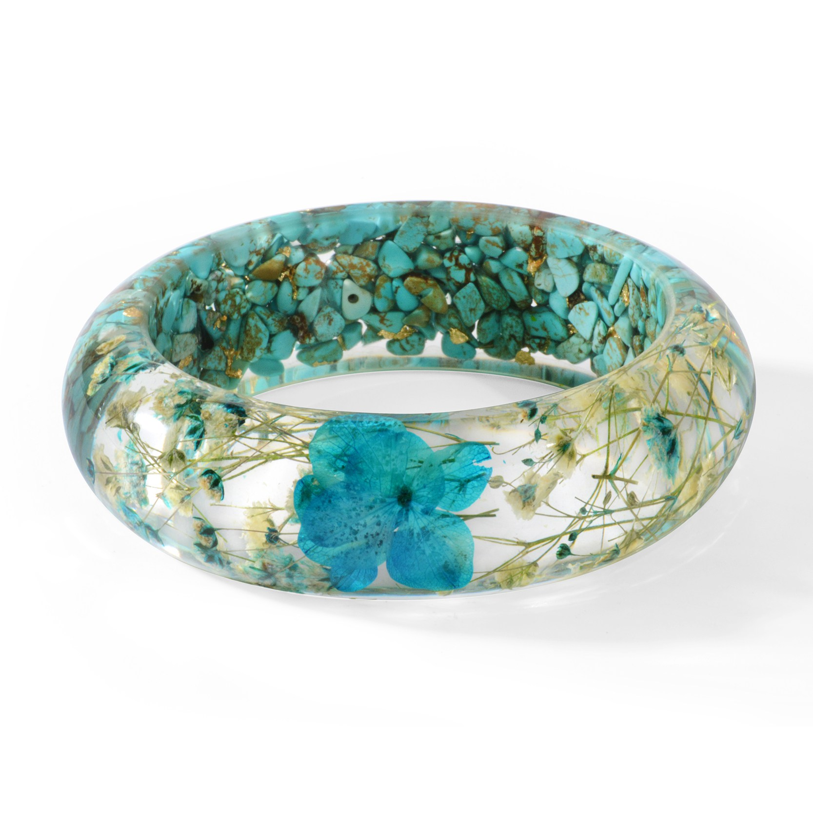 Vintage Clear Real Dried Flowers Bracelet Bangle Women Lady Fashion Jewelry Gift