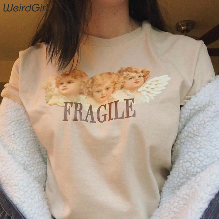 Weirdgirl Women Baby Angel Printing Casual Fashion T-shirts letter Short Sleeve O-Neck Khaki Loose Female Tees Summer New 19 16