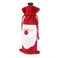 10PC Wine Bottle Cover Bags Decoration Home Party Santa Claus Christmas *natal navidad christmas*30 2017 hot sale