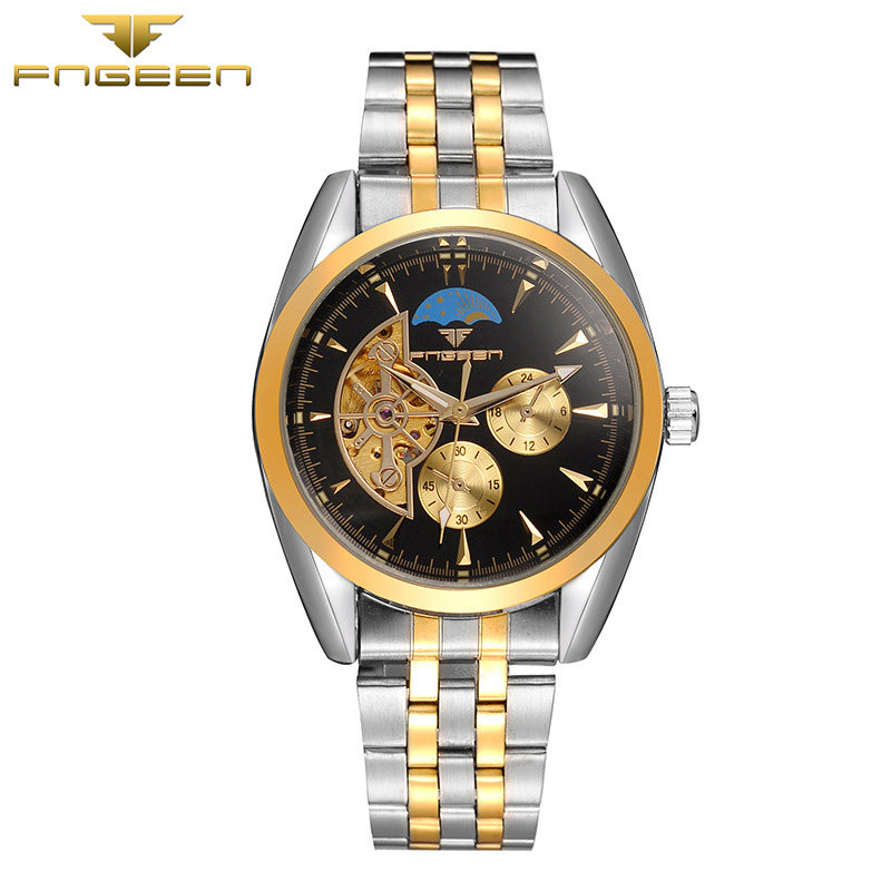 Fngeen Automatic Mechanical Mens Watch Top Brand Luxury Fashion Business Leather watch Otomatik  man clock  20 fashion fngeen brand simple gridding texture dial automatic mechanical men business wrist watch calender display clock 6608g
