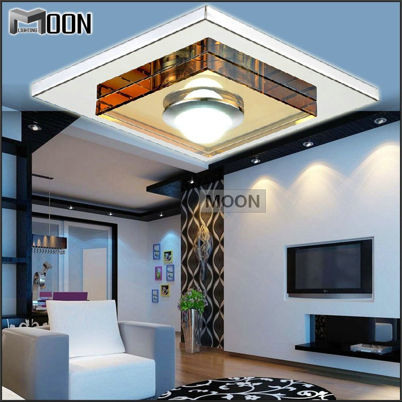 Modern Glass LED Ceiling Light / Lamp / Lighting Fixture Square LED Crystal Lustre Lighting LED Aisle Light Porch Lamp Hallway noosion modern led ceiling lamp for bedroom room black and white color with crystal plafon techo iluminacion lustre de plafond