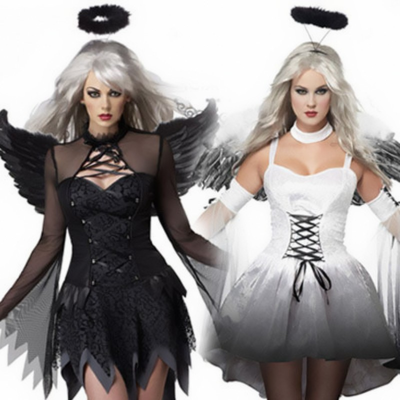 New White Black Dark Devil Fallen Angel Costume Women Sexy Halloween Party Adult Gothic Ghost Bride Witch Costume Fancy Dress