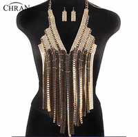 Chran New Fashion Stunning Sexy Body Belly, Silver Gold Beach Chain Bra Wear Slave Harness Necklace Tassel Waist Jewelry DDBB252