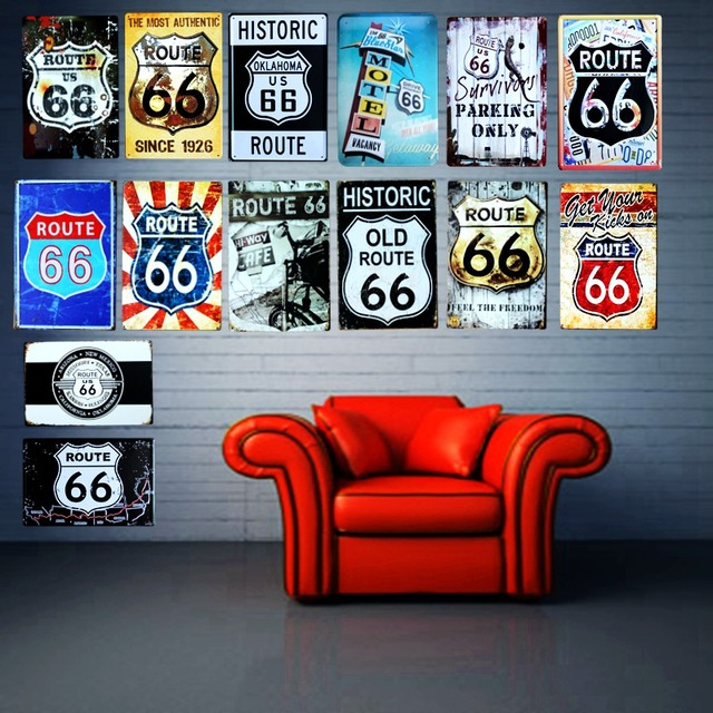 Route 66 Vintage Plate Tin Signs Metal Painting Wall Bar House Art ...