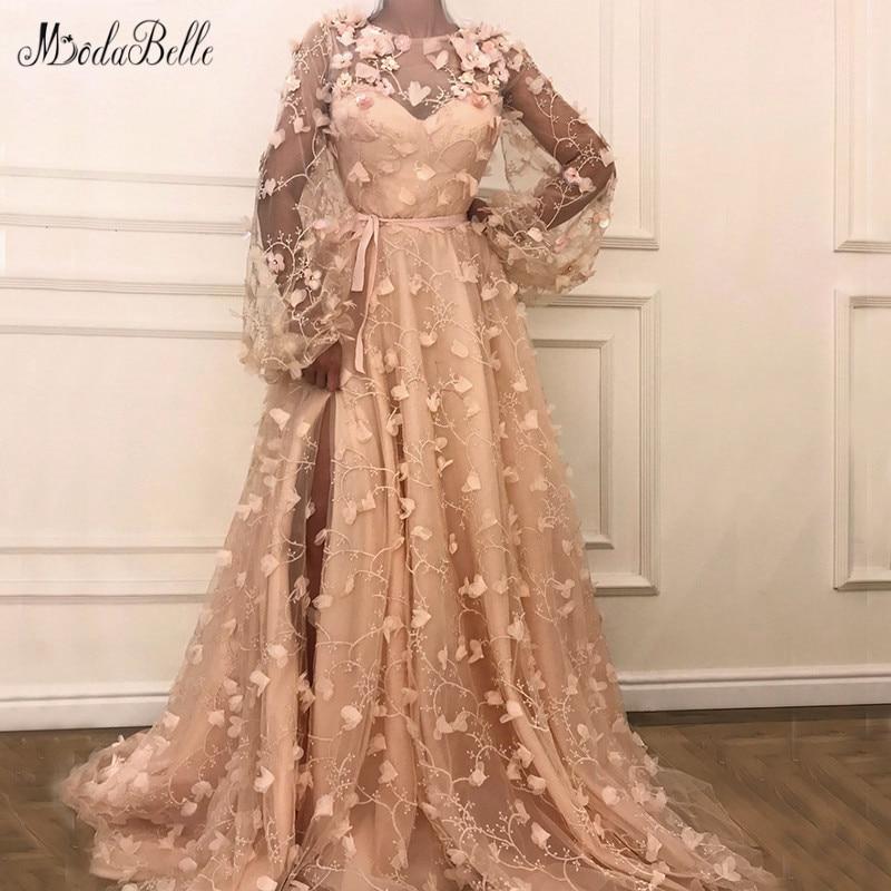 efe749eff93e modabelle 3D Flowers Orange Vintage Evening Dress Vestido De Noite High  Slit Long Evening Dresses 2019
