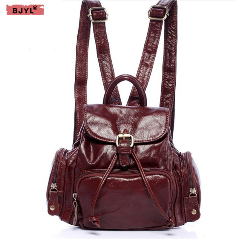 BJYL 2018 New small Women backpack casual fashion female Genuine leather Shoulder bag luxury ladies backpacks womans backpack black leather genuine mini backpack women 2017 new female small shoulder bags sweet lady backpacks