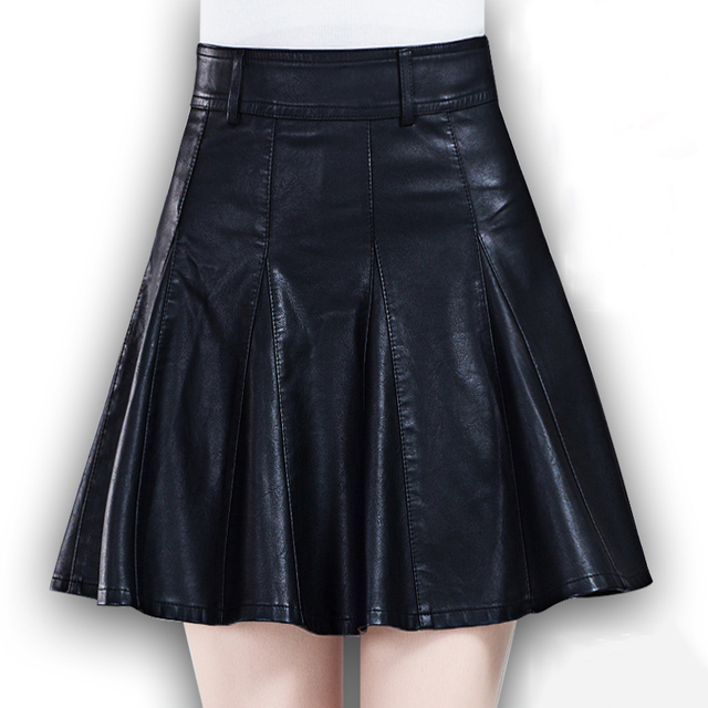 Black high waisted pleated PU skirts for women winter large size faux leather skater skirts ladies oversized mini circle skirts
