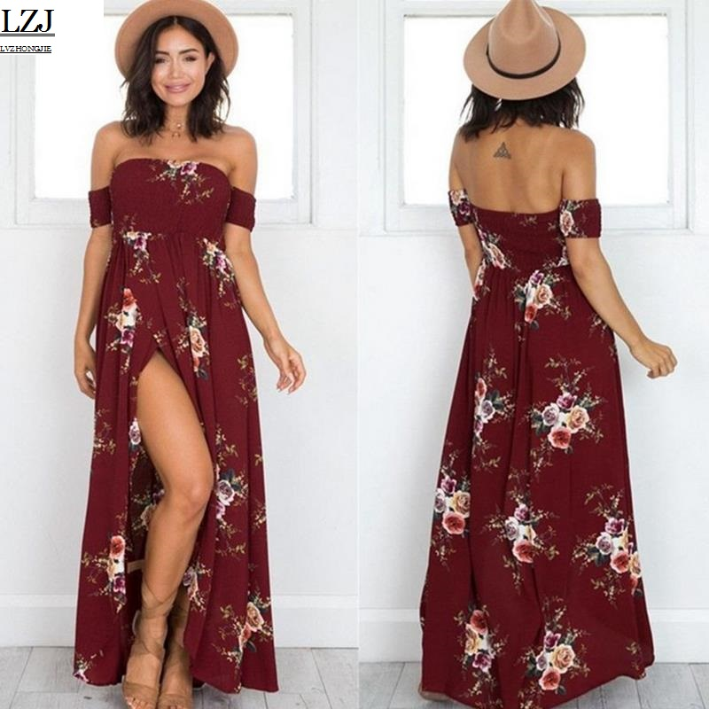 66e255fc01d7 chiffon long dress Women Off Shoulder maxi dresses vestidos Sexy white  split beach summer dress Boho
