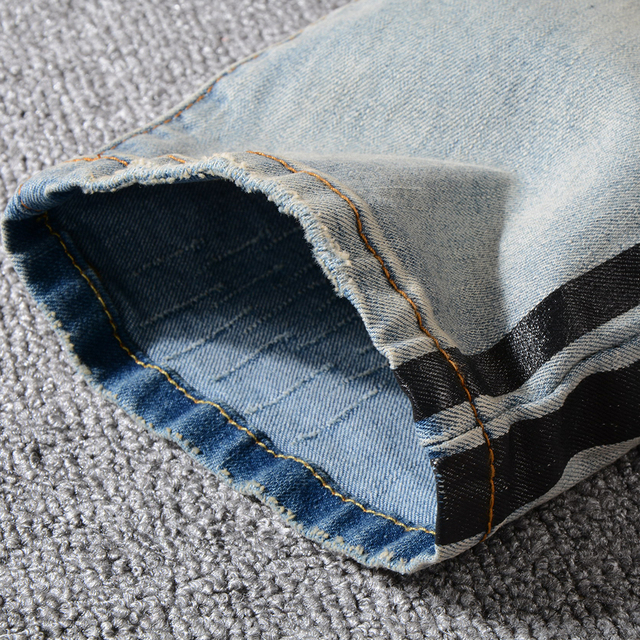 Sokotoo Men's black stripe printed ripped jeans Vintage blue slim fit distressed stretch denim pants