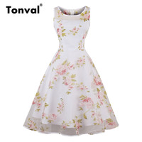 Tonval Women Floral Print Summer Mesh Dress Plum Blossom Casual Flowers Dresses Cotton And Organza White