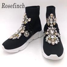 Rhinestone Sneakers Fashion Crystal Gemstone Socks Women Sneaker Short Boots Casual Shoes WK113