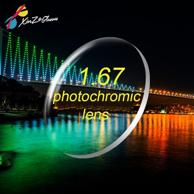 XINZE 1.67 index photochromic grey lens myopia presbyopic prescription aspheric hard resin lenses UV protection thin clear