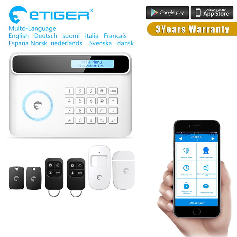 2017 Etiger GSM WIFI Home Burglar Security Alarm System Remote Control Kit Infrared Detector Door Sensor Remote Control kit 433mhz dual network gsm pstn sms house burglar security alarm system fire smoke detector door window sensor kit remote control