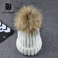 Wholesale Real Mink Fur Pom Poms Knitted Hat Ball Beanies Winter Hat For Women Girl 'S Wool Hat Cotton Skullies Thick Female Cap