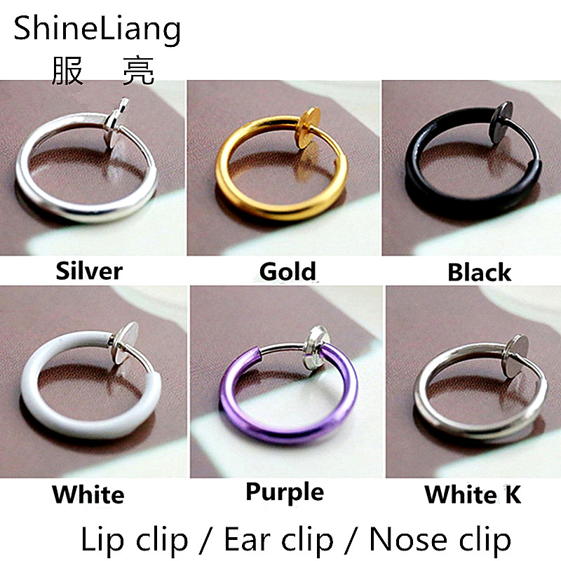 Clip Earrings For men women Invisible Rings ear Lips Nose Clip without piercing unisex rose Gold silver Black purple Small Round