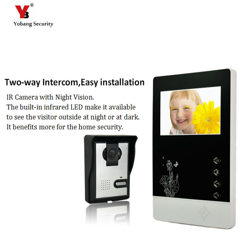 Yobang Security freeship 4.3 Video Door Color Video Monitor Kit Video Door Phone Video Intercom Door bell Doorbell Night Vision yobang security freeship 4 3 inch video door color video monitor kit video intercom and video doorbell ir camera night vision