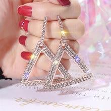 USTAR Crystals Triangle Drop Earrings for women Geometric Statement Dangle Earrings female wedding Jewelry hanging Oorbellen недорого