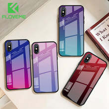 FLOVEME 9H Gradient Tempered Glass Case For iPhone 7 XS MAX XR X Cover Colorful Glass Phone Case For iPhone 7 8 6 6s Plus Fundas(China)