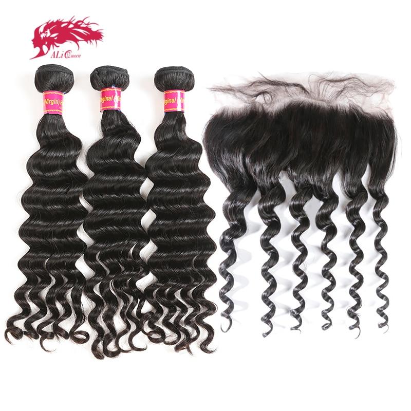 Ali Queen Hair Human Hair 3 Bundles Virgin Hair Brazilian Natural Wave Closure Ear To Ear