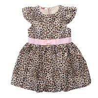 2018 zomer nieuwe mode meisje jurk Luipaard korte mouwen tutu jurk met riem kids kleding jurk 2-6 jaar
