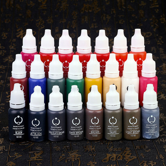1 Pcs Eyebrow Tattoo Ink Permanent Makeup Micro Pigment Lasting Long 15ml /Bottle 23 Colors