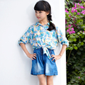 Girls Kids Summer Camisetas Ninas Collared Blouses The Cloth Girls Tops And Blouses Short Sleeve Child For Girls 50H003