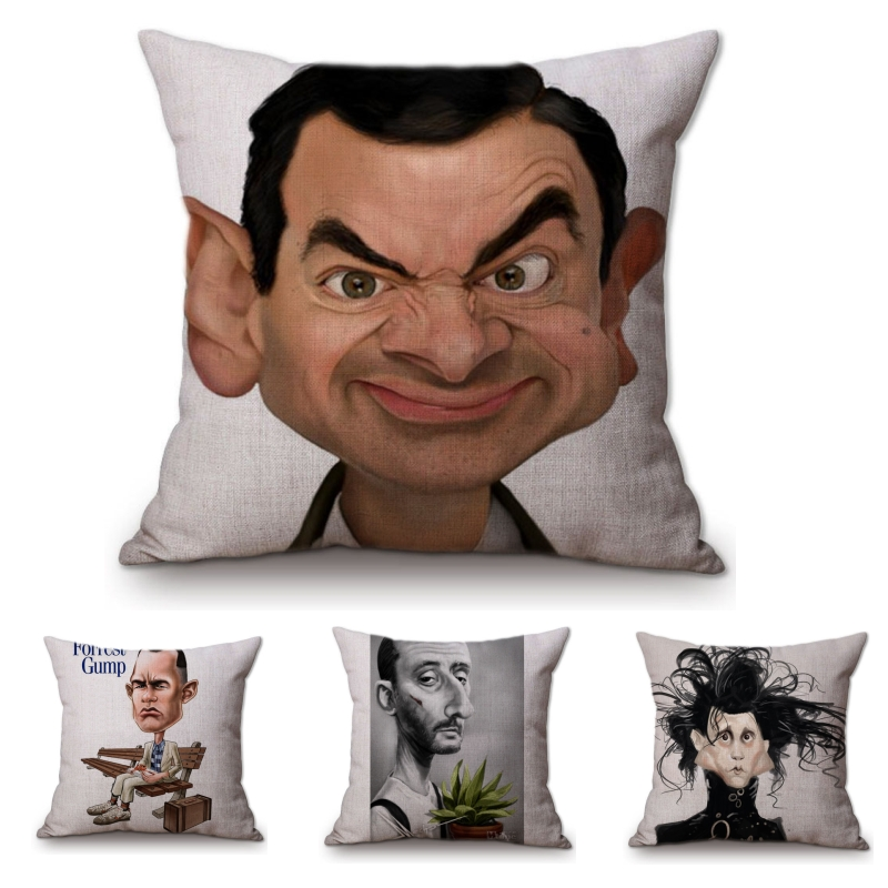 Hollywood Movie Poster Home Decorative Pillows Covers Film Comic Mr Bean X-men Jean Reno Leon Rocky <font><b>Cartoon</b></font> Cushion Cover Case image