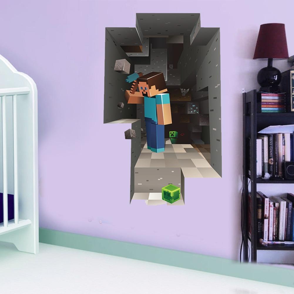 New Minecraft 3d Wall Sticker For Kids Room Wallpaper Home