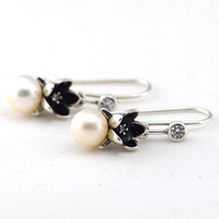 Authentic 100% 925 Sterling Silver Floral Silver Earrings with Pearls Clear CZ and Black Enamel DIY Fashion Jewelry Women Gifts