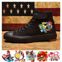 Mario Bros Print Cartoon High Top Canvas Uppers Sneakers College Customized Fashion Men's Shoes A193161 cartoon print top