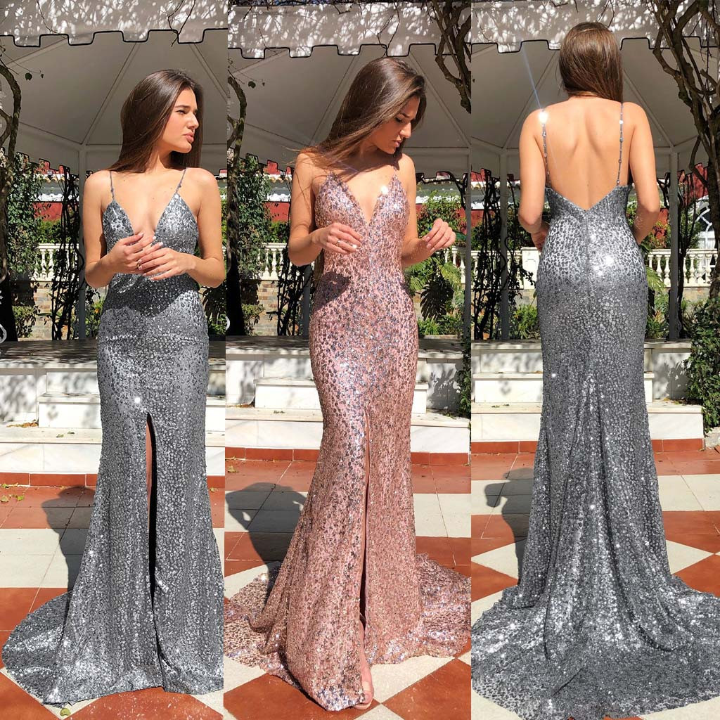 2019 Fashion Women's Summer Charm Elegant Brief Sexy Sleeveless V-Neck Solid Camisole Dress Party Pleated Floor-Length Dress 50
