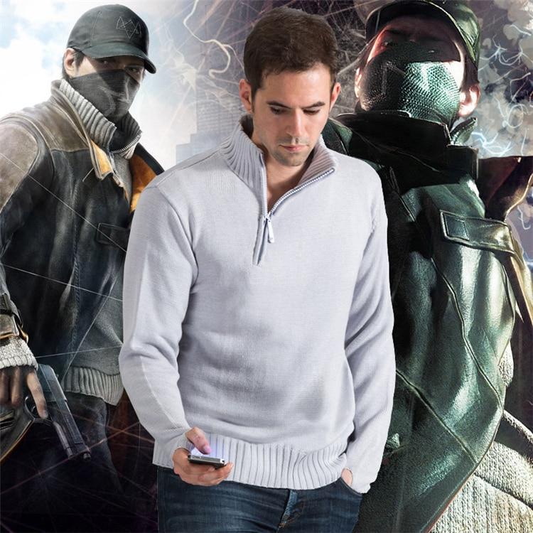 Watch Dogs Aiden Pearce, карнавальный костюм, костюмы для взрослых, Мужская трикотажная одежда, вязаные топы, зимние свитера, пуловер