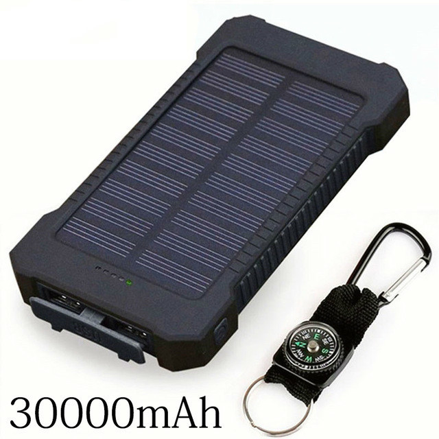 Solar Power Bank 30000mah Solar Charger External Battery Charger Waterproof Solar Powerbank For Smartphone With Led