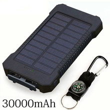 Solar Power Bank 30000mah Solar Charger External Battery Charger Waterproof Solar Powerbank For Smartphone With Led Light