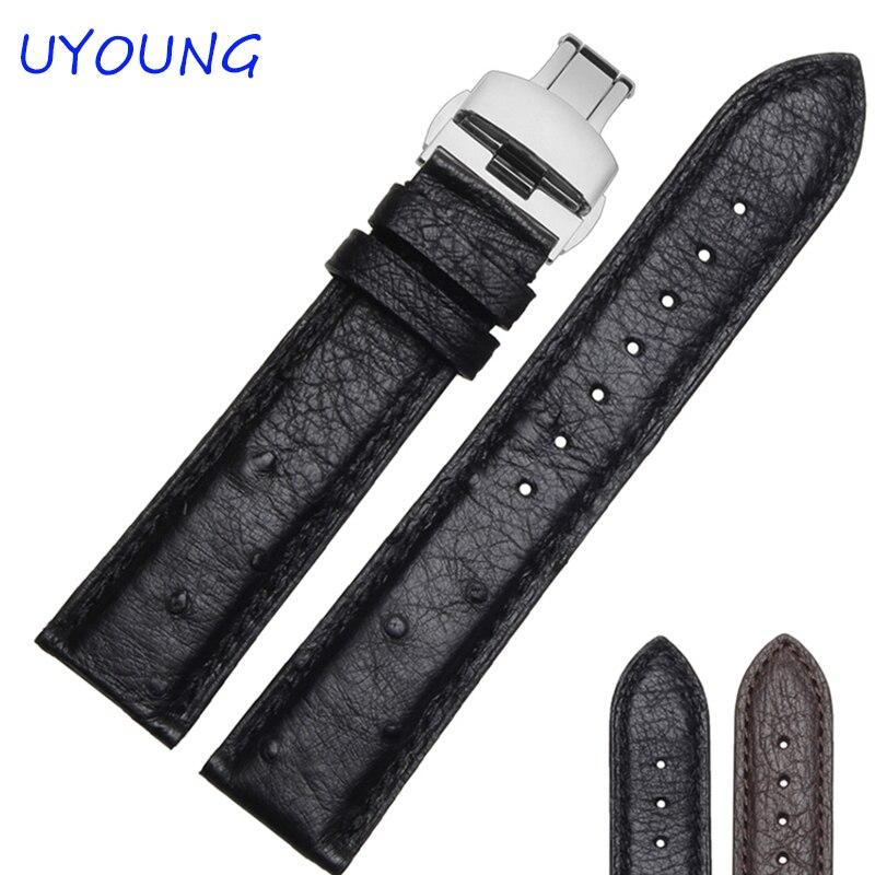 ФОТО New 2016 High Quality Ostrich skin Leather Watchband 18/19/20/21/22mm Black/Brown Men Women Watch Accessories Bracelet