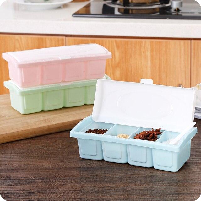 3f07eb5ab9f 4 Cell Plastic Seasoning Box Clamshell Square Seasoning Set Doug Sauce Salt Kitchen  Storage Boxes 3