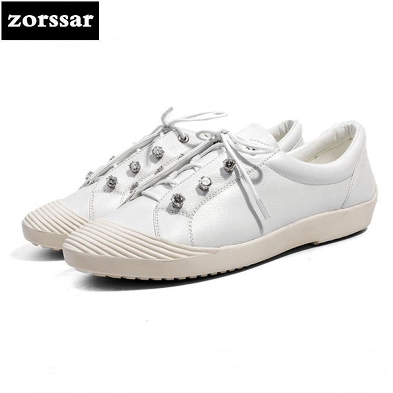 {Zorssar} 2018 Genuine Cow Leather Flat Shoes Women Breathable Women Sneakers Footwear High Quality Women Flats Casual Shoes women s shoes 2017 summer new fashion footwear women s air network flat shoes breathable comfortable casual shoes jdt103