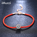 iMucci Brand Austrian Crystals Charm Bracelets for Women Thin Red Thread String Rope Fashion Trendy Bracelet Bangles Jewelry