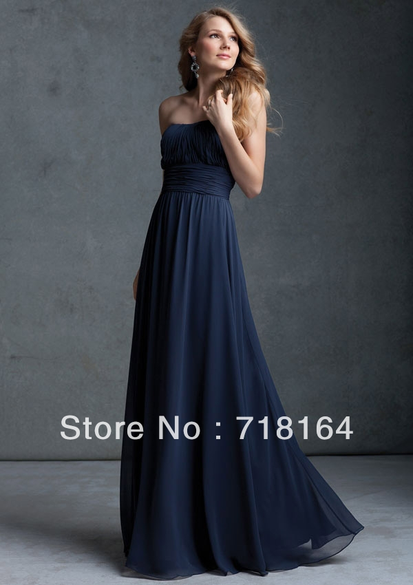 Elegant New Arrive Hot Long Floor Length Dark Blue Chiffon Top Women Modest Bridesmaid Dress Under 100 Custom Free Shipping In Dresses From