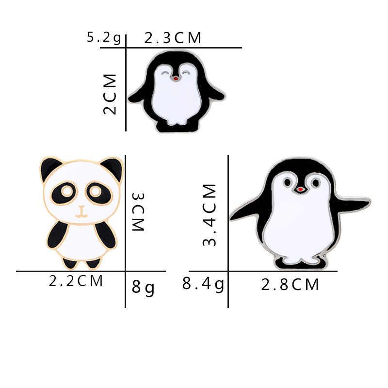 Sevimli Metal emaye Panda penguen düğme broş Pin rozeti pimleri Denim ceketler giyim karikatür hayvan figürlü mücevherat arkadaşlar için hediyeler çocuk