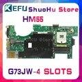 KEFU для ASUS G73JW G73J G73 4-слоты REV: 2 0 HM55 материнская плата для ноутбука протестирована 100% оригинальная материнская плата