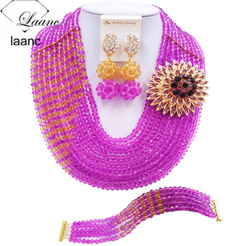 Laanc Purple Champagne Gold African Wedding Beads Nigerian Jewelry Set for Women Free Shipping C10JK093
