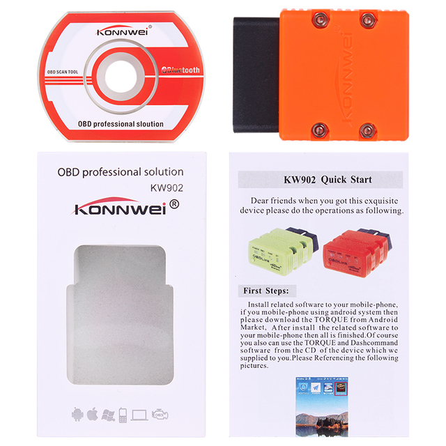 Diagnostic-tool KW902 mini ELM327 Bluetooth OBD-II Car Diagnostic Tool Elm 327 OBD2 code reader scanner better than elm327 V2.1