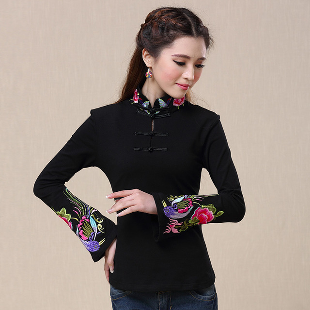34fd4ba3eaf women s 2016 autumn spring ethnic black white stand collar mexican  embroidered t-shirt female long-sleeve peasant top blusa